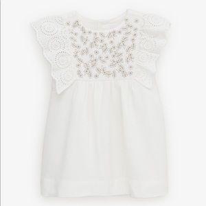 Zara White Sparkly Embroidered Dress
